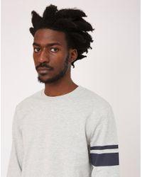 The Idle Man - Stripe Sleeve Sweatshirt Grey - Lyst
