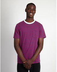 Albam - Pocketed Stripe T-shirt Pink & Navy - Lyst