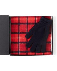 Barbour - Scarf And Glove Gift Box Red - Lyst