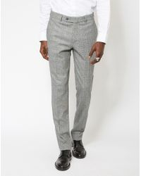 The Idle Man - Slim Price Of Wales Check Pure Wool Suit Trousers - Lyst
