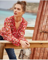 15951df4 The Kooples - Floaty Viscose Top With Colourful Pattern - Lyst