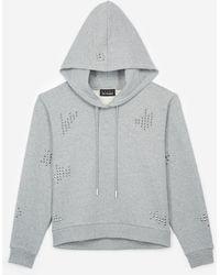 The Kooples - Grey Studded Hoodie - Lyst