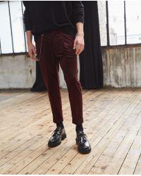 The Kooples - Burgundy Ribbed Velvet Trousers - Lyst