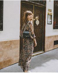 The Kooples Long Plunge Printed Silk Dress - Multicolor