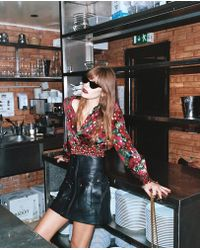 The Kooples - Wrap Top With Epaulettes, Giant Poppy Print And Lurex Details - Lyst