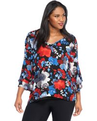 The Limited - Plus Size Bell Sleeve Shark-bite Blouse - Lyst