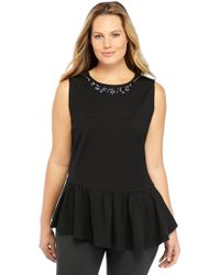 The Limited - Plus Size Ponte Necklace Top - Lyst
