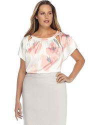 c55907719f1 Lyst - Nydj Plus Printed V-neck Tie-up Top in Natural