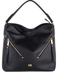 11817d7bac2b Michael Kors Evie Large Leather Shoulder Bag in Gray - Lyst