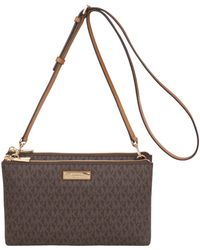 fd1c5dde990ff Lyst - Michael Kors Adele Leather Crossbody Bag in Gray