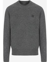 Acne Studios - Nalon Face Appliquéd Wool Sweater - Lyst
