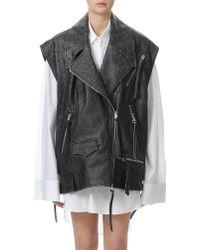 MM6 by Maison Martin Margiela - Oversized Leather Sleeveless Rider Jacket - Lyst