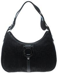 Ferragamo - Canvas And Leather Gancini Shoulder Bag - Lyst