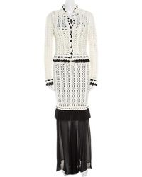 Chanel - Monochrome Knit Crochet Blazer Top And Maxi Skirt Set S - Lyst