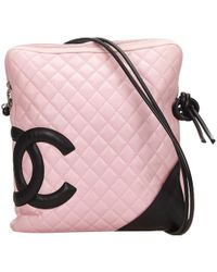 f6b76ac99e6d Chanel Pre-owned Cambon Leather Crossbody Bag in Pink - Lyst