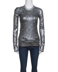 Louis Vuitton - Silver And Black Ribbed Neck Perforated Sweater S - Lyst
