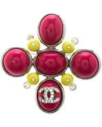 Chanel - Cc Cabochon Crystal Silver Tone Brooch - Lyst