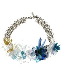 Missoni - Crystal Flower Silver Tone Necklace - Lyst