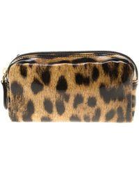 Roberto Cavalli - Leopard Print Patent Leather Pouch - Lyst