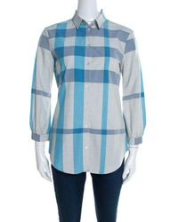 7d181099 Burberry - Brit Gray And Blue Checked Cotton Blouson Sleeve Shirt Xs - Lyst