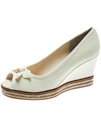 ef2084957 Tory Burch - Ivory Canvas Jackie Espadrille Wedge Pumps Size 37 - Lyst