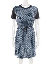 d4b6ec48227 Louis Vuitton - Navy Blue Monogram Printed Cotton And Silk Waist Tie Detail  Dress Xs -