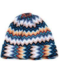 Missoni Multicolour Wool Blend Zig Zag Knit Beanie - Blue