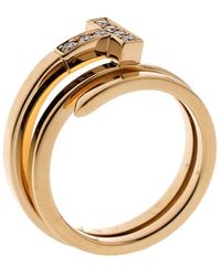 Tiffany & Co. - T Square Diamond 18k Rose Gold Wrap Ring Size 53 - Lyst