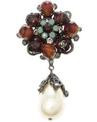 Chanel - Multicolor Faux Pearl Crystal & Bead Silver Tone Brooch - Lyst