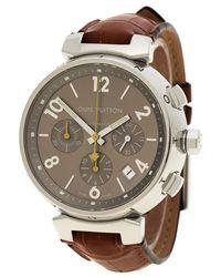 Louis Vuitton - Stainless Steel Tambour Q1122 Chronograph Women's Wristwatch 42 Mm - Lyst