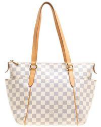 cd7c9d514a7e Lyst - Louis Vuitton Damier Canvas Tote Bag N41280 Totally Pm in White