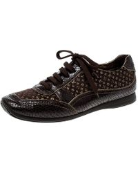 Louis Vuitton - Monogram Fabric And Embossed Python Leather Trim Low Top Sneakers - Lyst