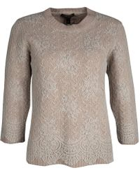 Louis Vuitton - Dull Cable Knit Lace Overlay Crew Neck Sweater M - Lyst