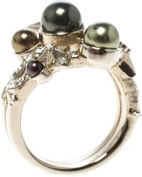 Chanel - Star Comet Crystal Faux Pearl Tone Ring - Lyst