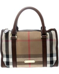1f0db31861e6 Burberry -  brown House Check Canvas And Leather Boston Bag - Lyst