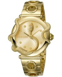 Roberto Cavalli Champagne Gold Plated Stainless Steel Rv2l020m0051 Women's Wristwatch 36mm