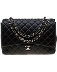 148a90a39a94 Lyst - Chanel Grey Quilted Leather Maxi Classic Single Flap Bag in Gray