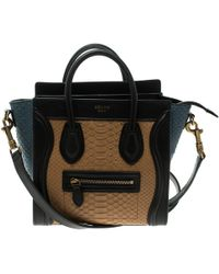 Céline - Python And Leather Nano Luggage Tote - Lyst