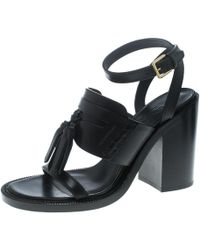 5d2e689a2ee4 Burberry - Leather Bethany Tassel Detail Block Heel Sandals - Lyst