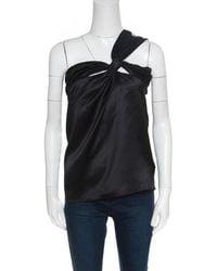 Dior - Silk Satin Draped One Shoulder Top M - Lyst