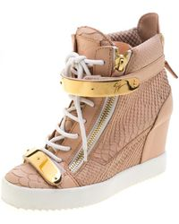 Giuseppe Zanotti Pink Python Embossed Leather Lorenz Wedge Sneakers Size 38.5