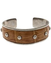 Tod's - Tan Embossed Leather Studded Silver Tone Narrow Cuff Bracelet - Lyst