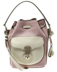 ca81ef9b94 Ralph Lauren - Blush Pink off White Leather Ricky Drawstring Bucket Bag -  Lyst