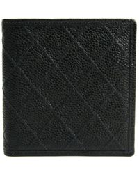Chanel - Black Quilted Caviar Bifold Wallet - Lyst