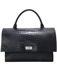 Givenchy - Black Croc Embossed Calf Leather Shark Lock Satchel Bag - Lyst