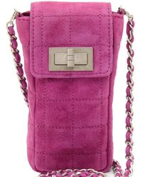 Chanel - Fuschia Quilted Suede Phone Case Bag - Lyst