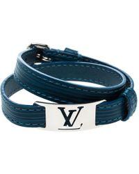 Louis Vuitton - Leather Silver Tone Wrap Bracelet 19 - Lyst