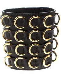 Giuseppe Zanotti - Leather Gold Tone Extra Wide Cuff Bracelet - Lyst