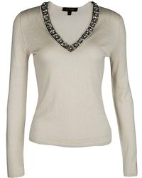 Roberto Cavalli - Embellished Silk Cashmere Sweater S - Lyst