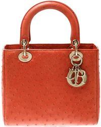 Dior - Orange Ostrich Medium Lady Top Handle Bag - Lyst